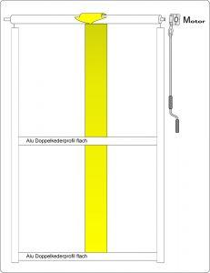 Maxi Rollvorhang, mit Laufschiene und Querprofil