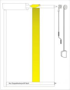 Rollvorhang mit Kasten und Laufschienen