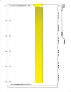 Rollvorhang mit oberen Kurbelrohr
